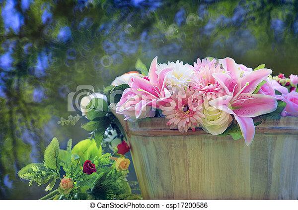 beau, bouquet, fleurs, arrangé - csp17200586