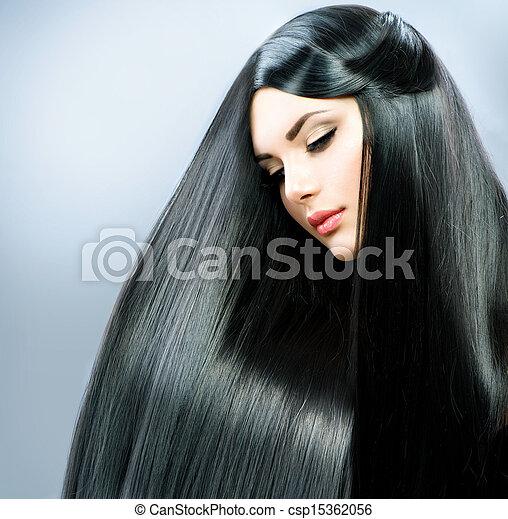 beau, brunette, directement, long, hair., girl - csp15362056