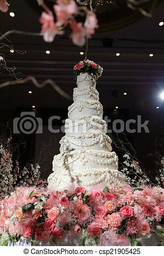 Beau Cérémonie Mariage Luxe Gâteau Mariage Blanc