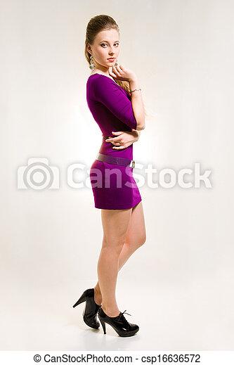 beau, chaussures, pourpre, fille noire, robe - csp16636572