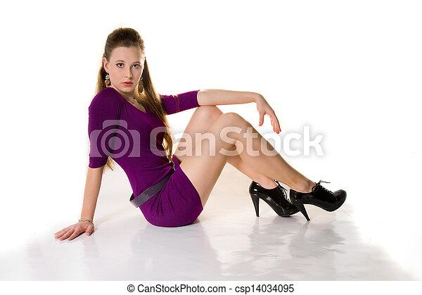 beau, chaussures, pourpre, fille noire, robe - csp14034095