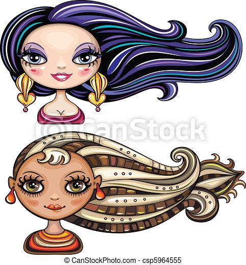 beau, cheveux, styl, filles, frais - csp5964555