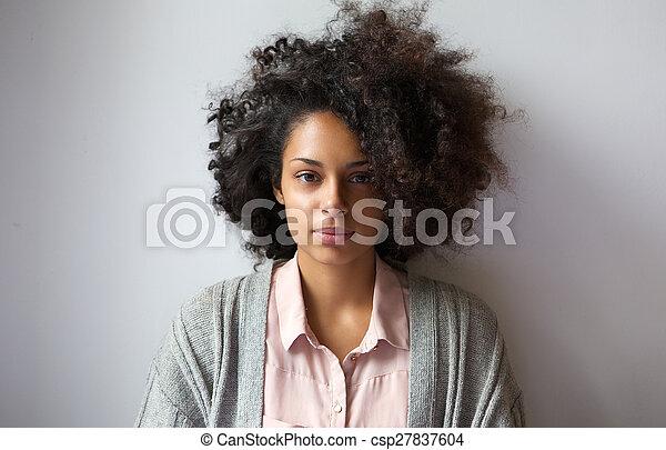 Beau Coiffure Femme Afro Jeune Beau Coiffure Femme Haut Jeune Fin Portrait Afro