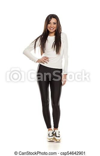 beau, collants, femme, noir, jeune - csp54642901