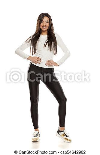 beau, collants, femme, noir, jeune - csp54642902