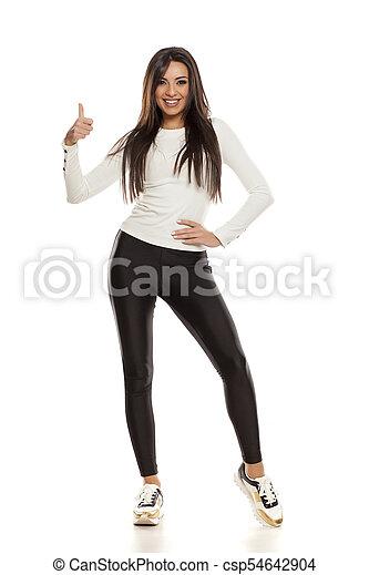 beau, collants, femme, noir, jeune - csp54642904