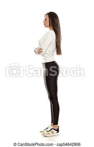 beau, collants, femme, noir, jeune - csp54642906