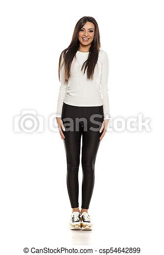 beau, collants, femme, noir, jeune - csp54642899