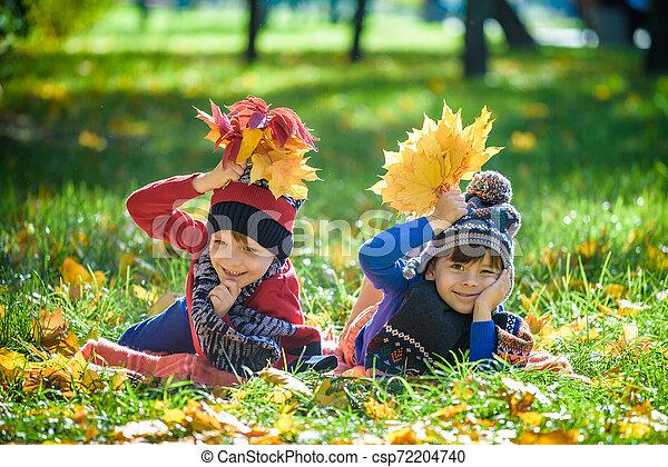 beau, concept, saison, garçon, automne, peu, day., lot, ensoleillé, chaud, jaune, enfant, enfants, gosse, garçon, octobre, style de vie, feuilles, pose, park., amusement, avoir - csp72204740