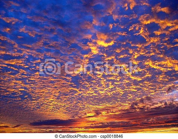beau, coucher soleil - csp0018846