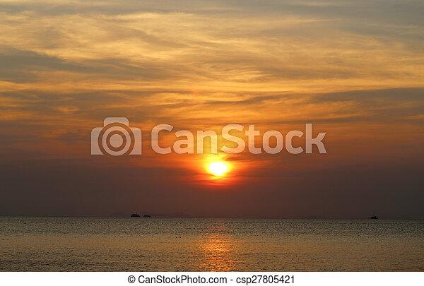 beau, coucher soleil, mer - csp27805421