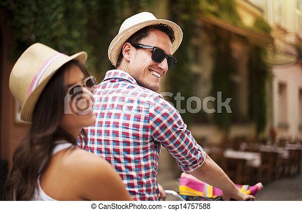 beau, couple, vélo, ville - csp14757588