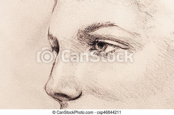 Beau Crayon Femme Vieux Paper Dessin Eye Beau Crayon Femme