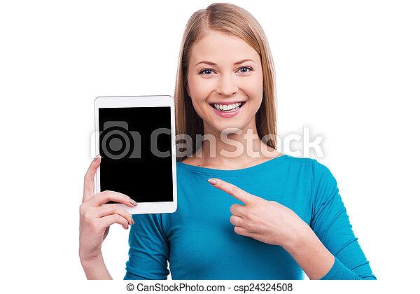 beau, debout, tenue, tablette, blanc, jeune, contre, il, quoique, fond, numérique, tablet?, tel, pointage, femmes, vous, vouloir - csp24324508