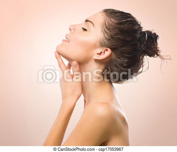 beau, elle, beauté, figure, toucher, portrait., spa, girl - csp17053967