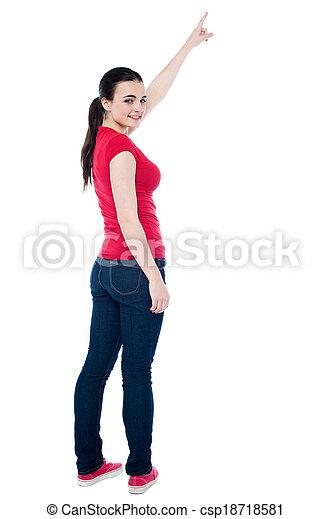 beau, elle, indiquer haut, main, girl - csp18718581
