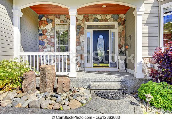 Beau Entree Naturel Classique Gris Exterieur Nouvelle Maison Stone