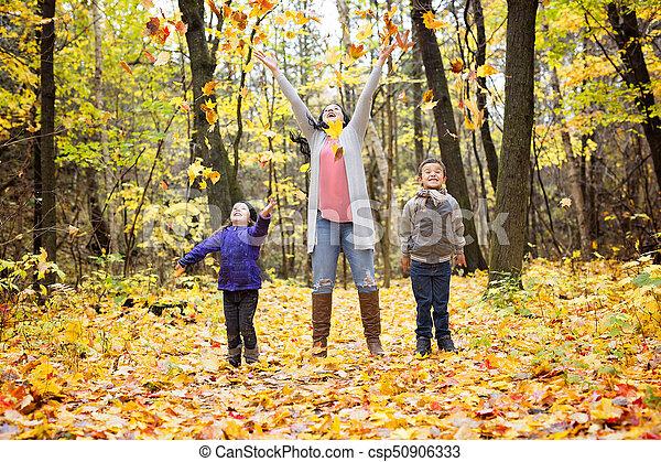 beau, famille, avoir, automne, amusement, jour, heureux - csp50906333