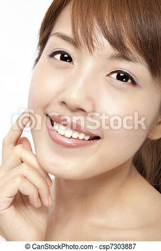 beau, femme, figure, asiatique, propre, peau, frais, heureux - csp7303887