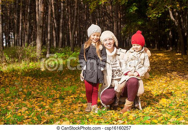 beau, fille, elle, parc, ensoleillé, jeune, promenade, automne, chaud, mère, merveilleux, jour - csp16160257