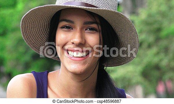 beau, fille souriante, figure - csp48596887