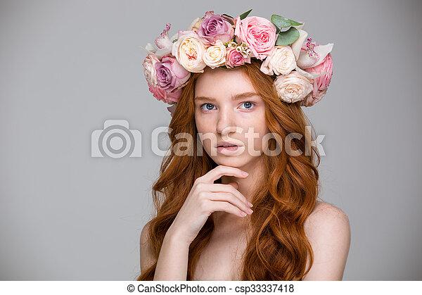 Beau, Fleur, Bouclé, Couronne, Cheveux, Femme, Roux, Rouges