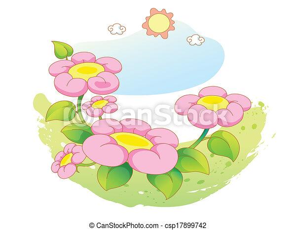 beau, fleurs, paysage - csp17899742