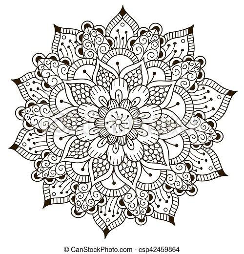 Beau floral deco mandala beau grand deco ornement - Grand mandala ...
