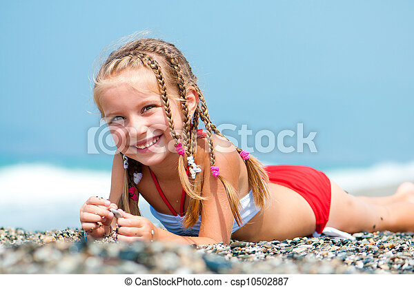 beau, girl, plage, figure - csp10502887