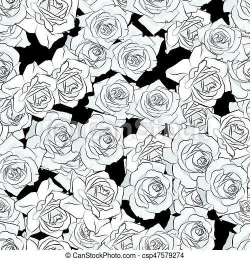 Beau Gris Fleur Stylization Plat Couleur Rose Pattern Seamless Main Noir Dessiné Blanc Silhouette Botanique