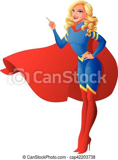 Beau Haut Femme Superhero Illustration Pointage Vecteur Doigt Sexy