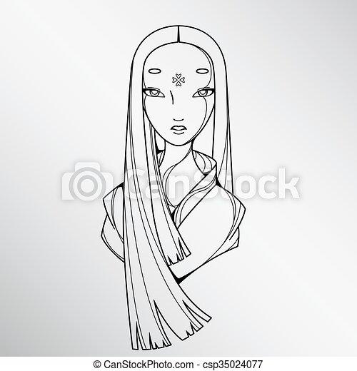 Beau Japon Blanc Fille Noire