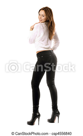 beau, jean, espiègle, serré, fille noire - csp4556840