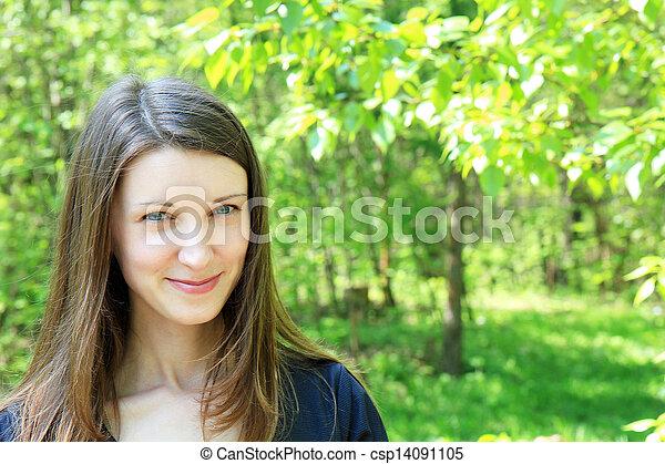 beau, jeune, arrière-plan vert, girl, végétation - csp14091105