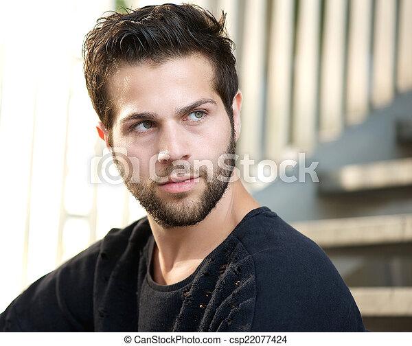 beau loin jeune regarder homme barbe beau loin jeune haut regarder fin portrait. Black Bedroom Furniture Sets. Home Design Ideas