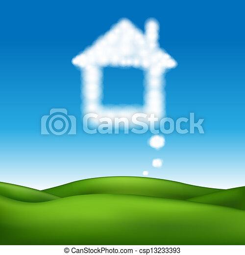 beau, maison, résumé, vecteur, paysage - csp13233393