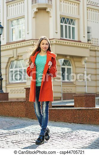wholesale outlet differently elegant shoes beau, marche, femme, manteau, jeune, bas, rue