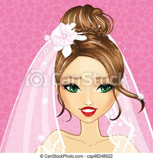 beau, mariée, girl, avatar - csp48248622