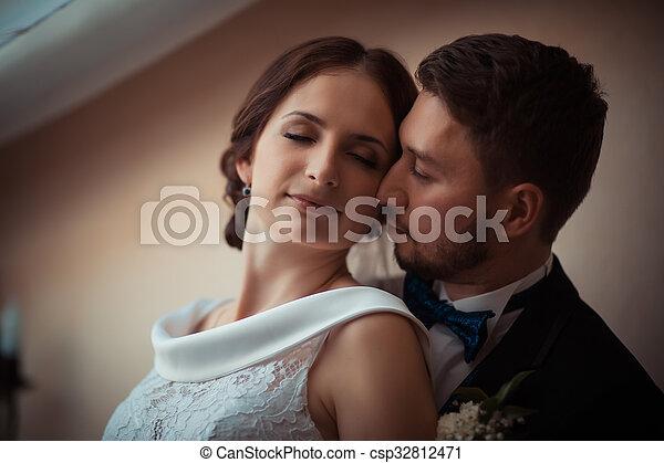 beau, mariée, palefrenier, portrait - csp32812471