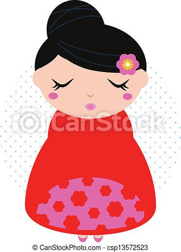 beau, mignon, coloré, japonaise, isolé, floral, girl, blanc - csp13572523