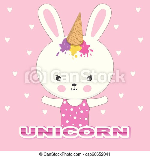 beau, mignon, lapin, casquette, glace, arrière-plan., rose, unicorn., adorable, lapin, crème - csp66652041