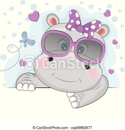 beau, mignon, lunettes soleil, hippopotame, isolé, arrière-plan., rose, girl, blanc - csp69862677
