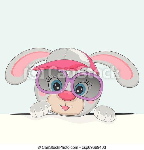 beau, mignon, lunettes soleil, rose, hat., girl, lapin - csp69669403