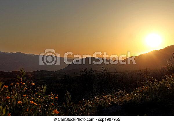 beau, montagnes, levers de soleil - csp1987955
