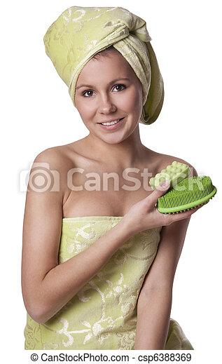beau, moyens, bain, hygiène, garde, girl - csp6388369