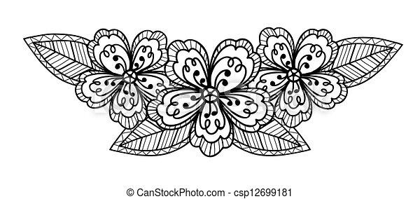 Beau Noir Blanc Fleur Dessin Main