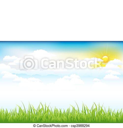 beau, nuages, paysage vert - csp3988294