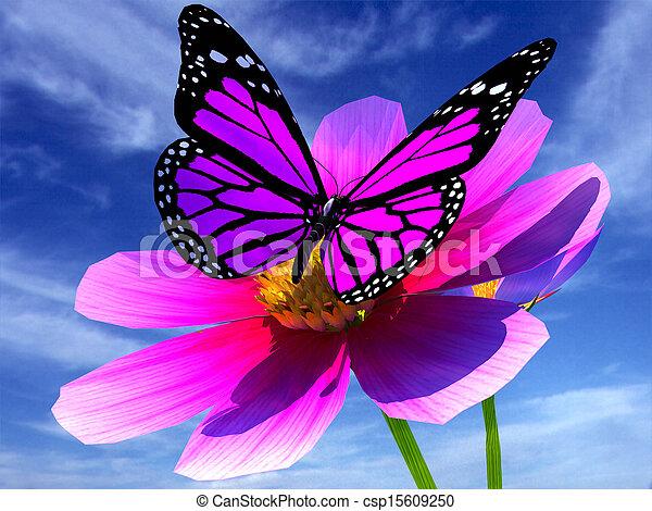 Beau papillon fleur cosmos beau papillon fleur ciel - Papillon fleur ...