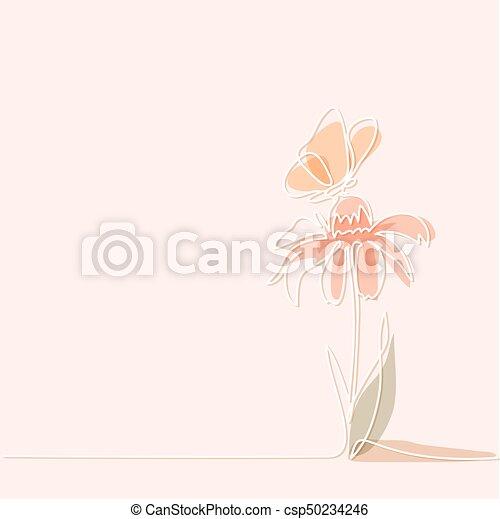 Beau Papillon Fleur Dessin Beau Couleur Continu Echinacea