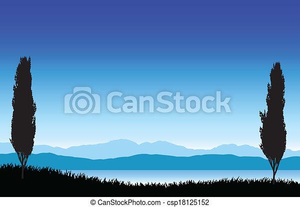 beau, paysage, arbres - csp18125152